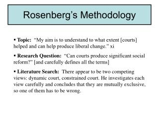 Rosenberg's Methodology