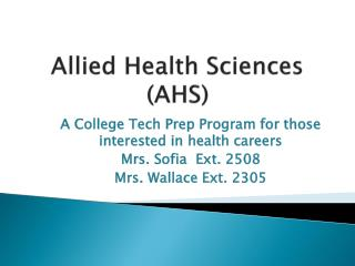 Allied Health Sciences (AHS)