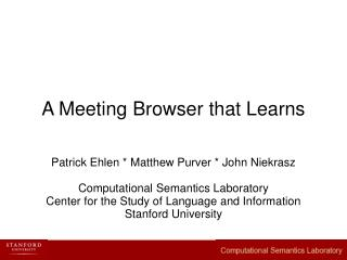 A Meeting Browser that Learns