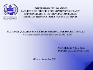 UNIVERSIDAD DE LOS ANDES FACULTAD DE CIENCIAS ECONOMICAS Y SOCIALES