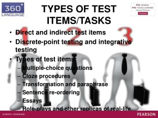 TYPES OF TEST ITEMS/TASKS