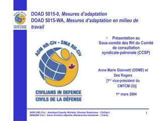 DOAD5015-0,  Mesures d'adaptation DOAD5015-WA,  Mesures d'adaptation en milieu de travail