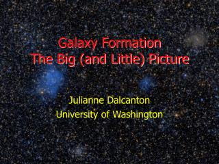 Galaxy Formation The Big (and Little) Picture