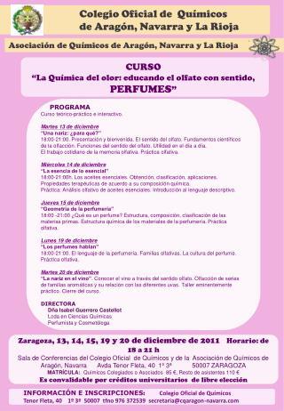 INFORMACIÓN E INSCRIPCIONES :           Colegio Oficial de Químicos