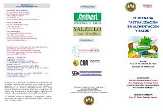 """II JORNADA  """"ACTUALIZACIÓN  EN ALIMENTACIÓN  Y SALUD"""" Murcia, 14 y 15 de Octubre de 2004"""