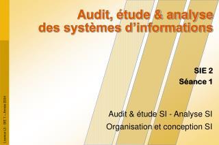 Audit, étude & analyse des systèmes d'informations