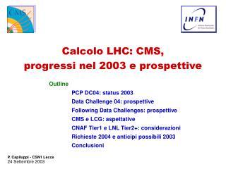 Calcolo LHC: CMS,  progressi nel 2003 e prospettive
