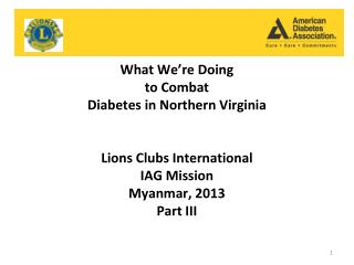 What We�re Doing  to Combat  Diabetes in Northern Virginia Lions Clubs International  IAG Mission