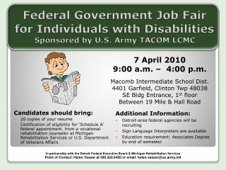 Federal Government Job Fair for Individuals with Disabilities Sponsored by U.S. Army TACOM LCMC