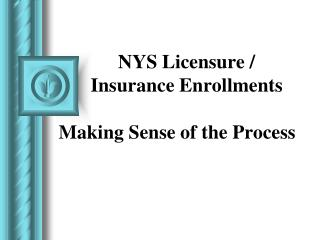 NYS Licensure / Insurance Enrollments  Making Sense of the Process
