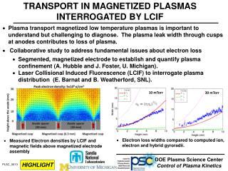 TRANSPORT IN MAGNETIZED PLASMAS INTERROGATED BY LCIF