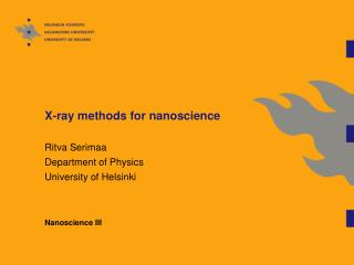X-ray methods for nanoscience