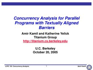Concurrency Analysis for Parallel Programs with Textually Aligned Barriers