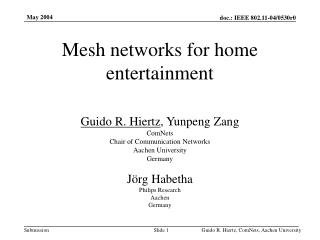 Mesh networks for home entertainment