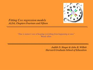 Fitting Cox regression models ALDA, Chapters Fourteen and Fifteen
