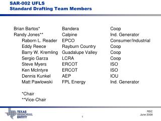 SAR-002 UFLS Standard Drafting Team Members