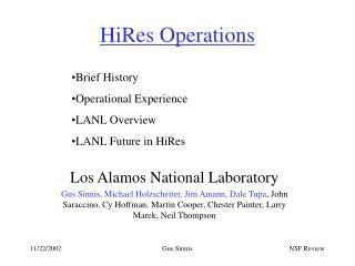 HiRes Operations