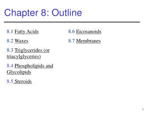 Chapter 8: Outline