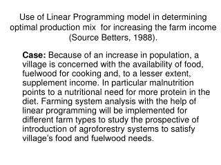 Farming System Study