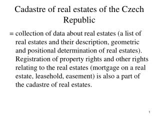 Cadastre of real estates of the Czech Republic