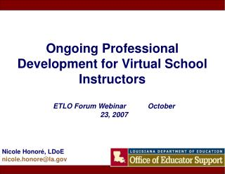 Ongoing Professional Development for Virtual School Instructors