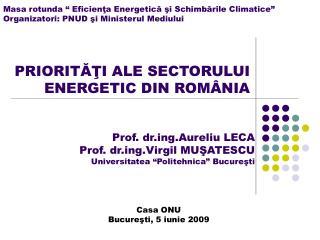 PRIORITĂŢI ALE SECTORULUI ENERGETIC DIN ROMÂNIA