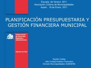 PLANIFICACIÓN PRESUPUESTARIA Y GESTIÓN FINANCIERA MUNICIPAL
