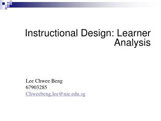 Instructional Design: Learner Analysis