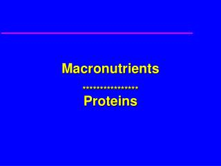 Protein Nutrition and Metabolism