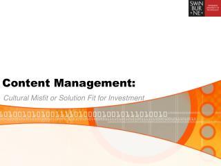 Content Management: