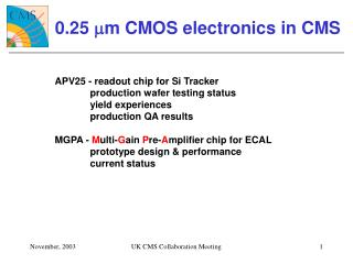 0.25  m m CMOS electronics in CMS