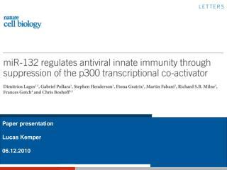 Paper presentation Lucas Kemper 06.12.2010