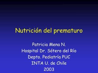 Nutrici n del prematuro