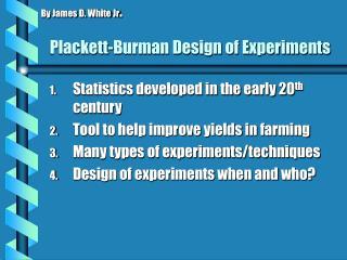 Plackett-Burman Design of Experiments