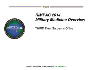 RIMPAC 2014 Military Medicine Overview THIRD Fleet Surgeons Office