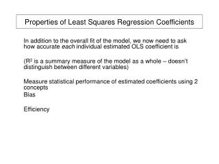 Properties of Least Squares Regression Coefficients