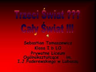 Sebastian Tomaszewicz Klasa I b LO