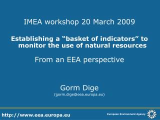 IMEA workshop 20 March 2009
