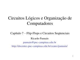 Circuitos Lógicos e Organização de Computadores Capítulo 7 – Flip-Flops e Circuitos Seqüenciais