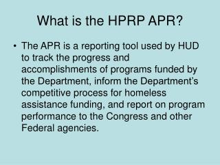 What is the HPRP APR