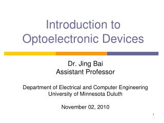 Introduction to Optoelectronic Devices