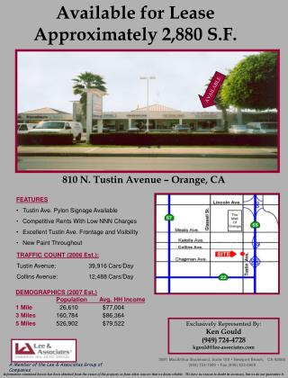 Available for Lease Approximately 2,880 S.F.