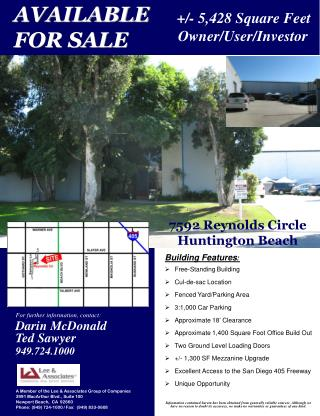 Building Features : Free-Standing Building  Cul-de-sac Location Fenced Yard/Parking Area