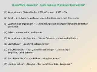 """Christa Wolfs """"Kassandra"""" – Suche nach den """"Wurzeln der Destruktivität"""""""