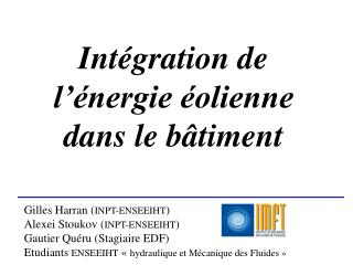 Intégration de l'énergie éolienne dans le bâtiment
