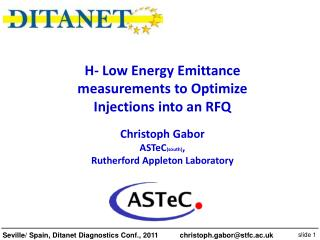 H- Low Energy Emittance measurements to Optimize Injections into an RFQ Christoph Gabor