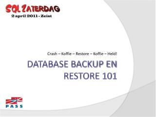 Database backup en restore 101