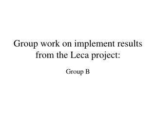 Group work on implement results from the Leca project: