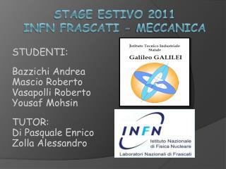 STAGE ESTIVO 2011 INFN  FRASCATI - meccanica