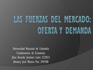 LAS FUERZAS DEL MERCADO: OFERTA Y DEMANDA